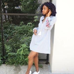 Embroidered sleeve mini dress